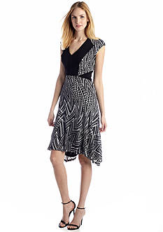 Nine West Dress Cap Sleeve Fit and Flare Dress