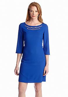 Nine West Dress Three-Quarter Sleeve Shift Dress