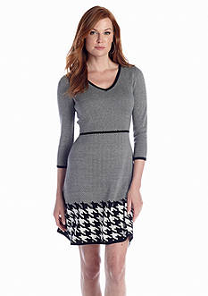 Nine West Dress Printed Fit-and-Flare Sweaterdress