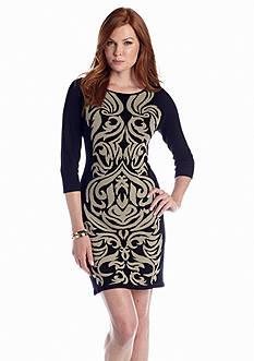 Nine West Dress Three-Quarter Sleeve Sweaterdress