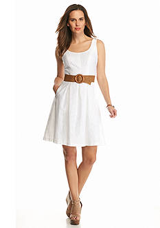 Nine West Burnout Belted Fit and Flare Dress