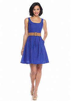 Nine West Belted Fit and Flare Dress