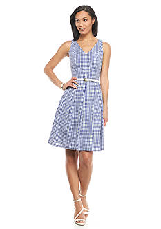 Nine West Gingham Check Belted Fit and Flare Dress