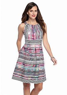 Nine West Stripe Fit and Flare Dress