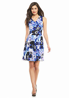 Nine West Printed Drop-Waist Dress