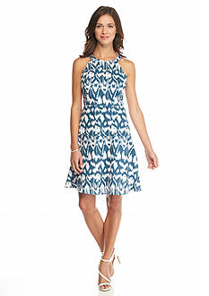 Nine West Printed Halter Dress