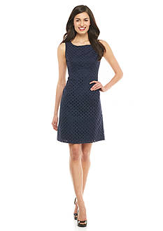 Nine West Eyelet Empire-Waist Dress