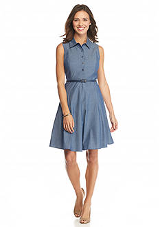 Nine West Denim Belted Shirt Dress