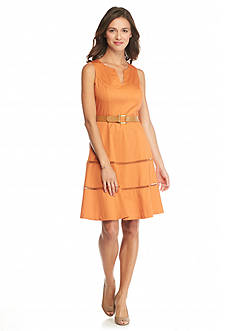 Nine West Split-Neck Fit and Flare Dress