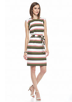 Nine West Striped Crepe Shift Dress
