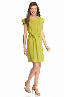 Nine West Flutter Sleeve Pin-tuck Dress