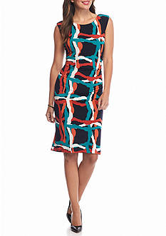 Nine West Printed Jersey Sheath Dress