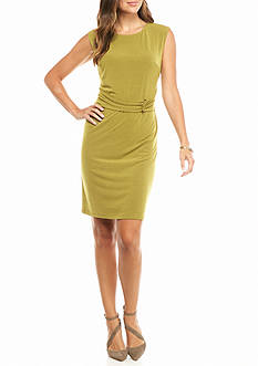 Nine West Cap-Sleeve Belted Sheath Dress