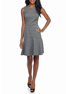 Nine West Printed Princess Seamed Dress