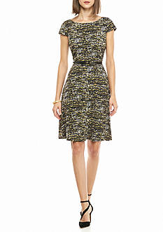 Nine West Printed Belted Fit and Flare Dress