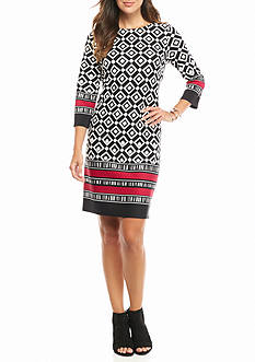 Nine West Printed Scuba Shift Dress