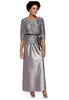 Alex Evenings Three-Quarter Sleeved Skirt Suit with Sequins
