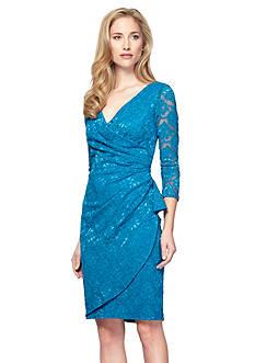 Alex Evenings Surplice Neckline Lace Dress