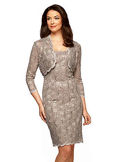 Alex Evenings Lace and Sequin Bolero Jacket Dress