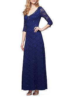 Alex Evenings Lace and Sequin Bead Embellished Neckline Gown