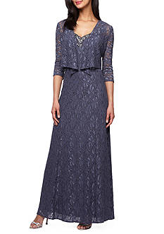Alex Evenings Bead Embellished Lace Gown with Jacket