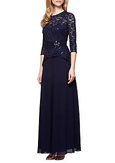 Alex Evenings Mock Two-Piece Gown with Sequins