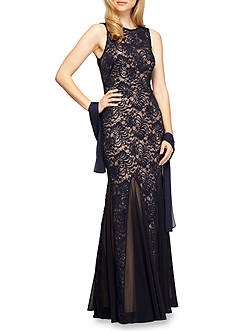 Alex Evenings Lace and Sequin Gown with Shawl