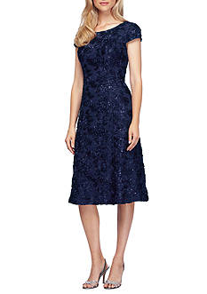 Alex Evenings T-length Rosette Dress