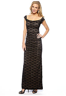 Alex Evenings Off the Shoulder Lace and Sequin Gown