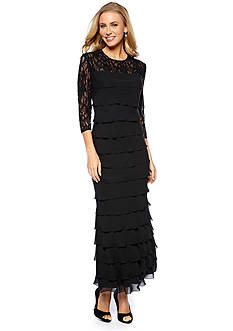 Alex Evenings Tiered Gown with Sequin
