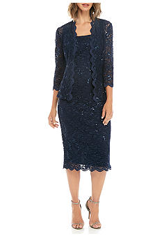 Alex Evenings T-length Jacket Dress with Sequin Detail