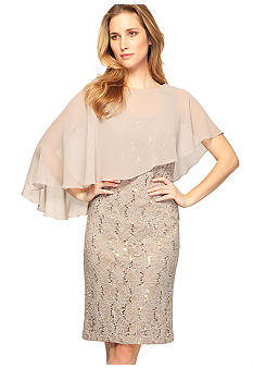 Lace and Sequin Dress with Chiffon Caplet