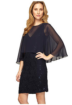 Alex Evenings Short Capelet Overlay Dress