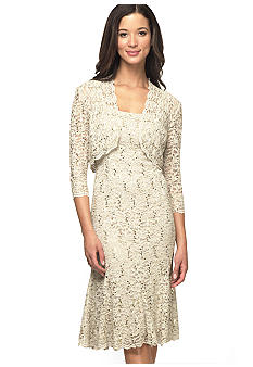 Alex Evenings Three-Quarter Sleeved Allover Lace Jacket Dress