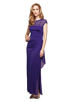 Alex Evenings Cap Sleeve Gown with Lace