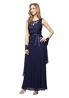 Alex Evenings Sleeveless Gown with Shawl