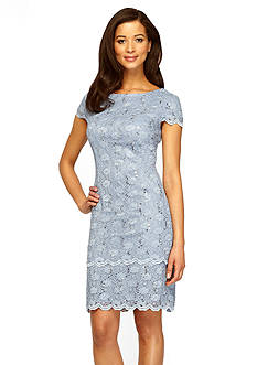 Alex Evenings Lace and Sequin Tiered Sheath Dress
