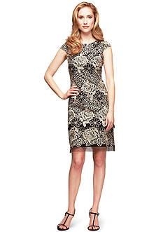 Alex Evenings Cap Sleeve Tiered Skirt Sheath Dress
