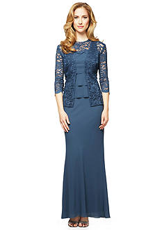 Alex Evenings Tiered Gown with Lace Jacket