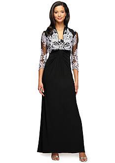 Alex Evenings Long Empire Waist Dress with Bolero Jacket