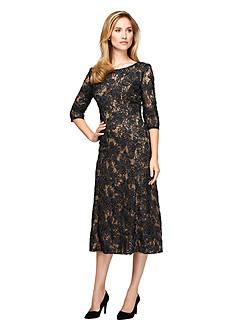 Alex Evenings Rosette Lace T-length Dress