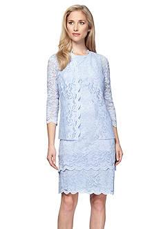 Alex Evenings Three-quarter Sleeve Lace Jacket Dress