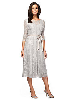 Alex Evenings Lace Panel A-line Dress