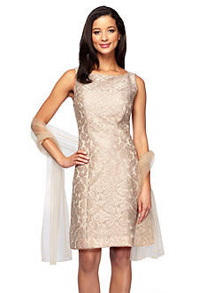 Alex Evenings Embroidered Mesh Sheath Dress with Shawl