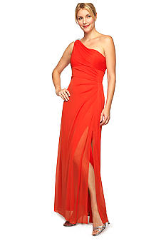 Alex Evenings One Shoulder Gown with Brooch at Shoulder