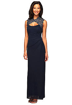Alex Evenings Metallic Lace Cutout Neckline Gown