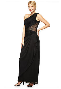 Alex Evenings One Shoulder Illusion Beaded Gown