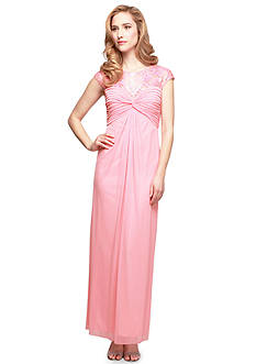 Alex Evenings Cap Sleeve Gown with Illusion Neckline