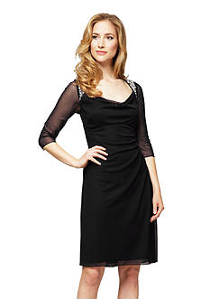 Alex Evenings Three Quarter Sleeve Sheath Dress with Embellished Shoulders