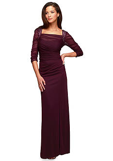 Alex Evenings Three-Quarter Sleeve Gown with Beaded Shoulder